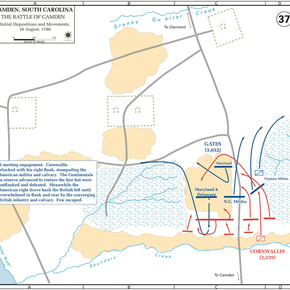 The Battle of Camden, Initial Dispositions and Movements, 16-Aug-1780