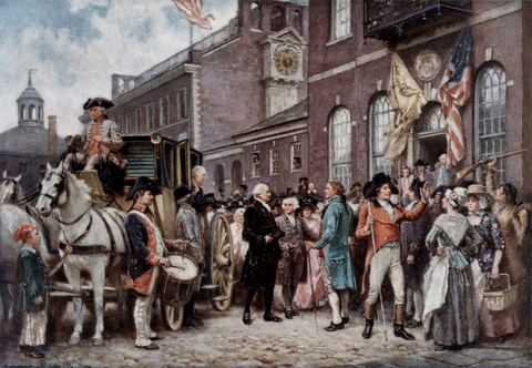 Washington's Inauguration at Congress Hall Philadelphia, 1798 (c. 1913)