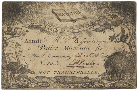 Ticket to Peale's Museum, 1807