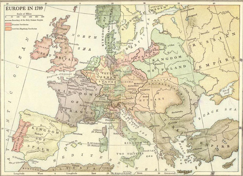 Map of Europe in 1789