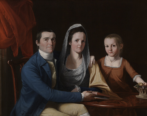 Jonathan Trumbull, Jr. with Mrs. Trumbull and Faith Trumbull, 1777