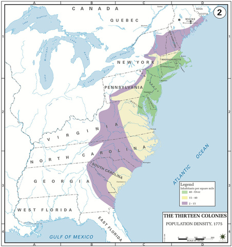 The Thirteen Colonies, Population Density, 1775