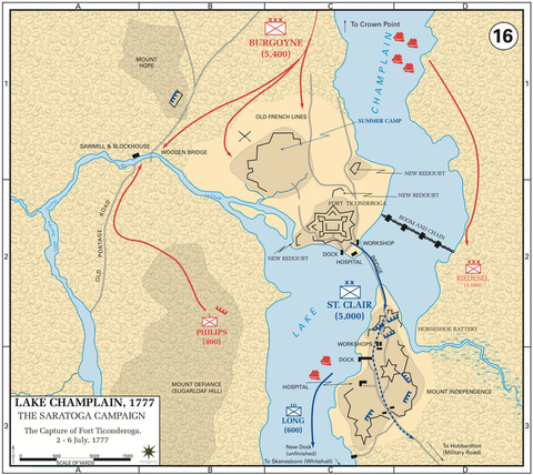 The Saratoga Campaign, Capture of Fort Ticonderoga, 2—6-Jul-1777