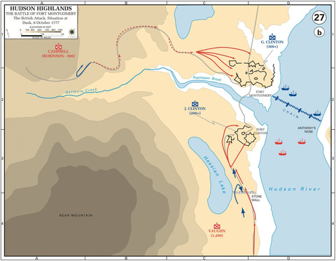The Battle of Fort Montgomery, British Attack, Dusk, 6-Oct-1777