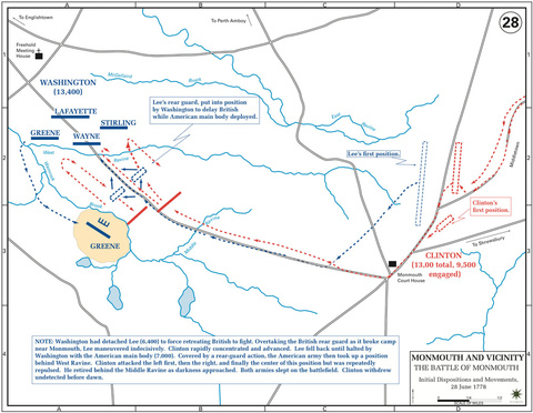 The Battle of Monmouth, Initial Dispositions and Movements, 28-Jun-1778