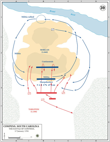 The Battle of Cowpens, Initial Dispositions and Movements, 17-Jan-1781