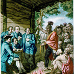 The Indians Giving a Talk to Colonel Bouquet, 1766